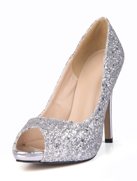 Milanoo Glitter Peep High Heels Sequined Women's Stiletto Pumps