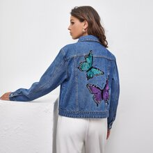 Butterfly Embroidery Pocket Front Denim Jacket