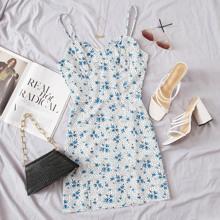 Cami Kleid mit Bluemchen Muster & Punkten Muster