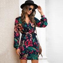Floral Print Self-Tie Sash Mini Dress