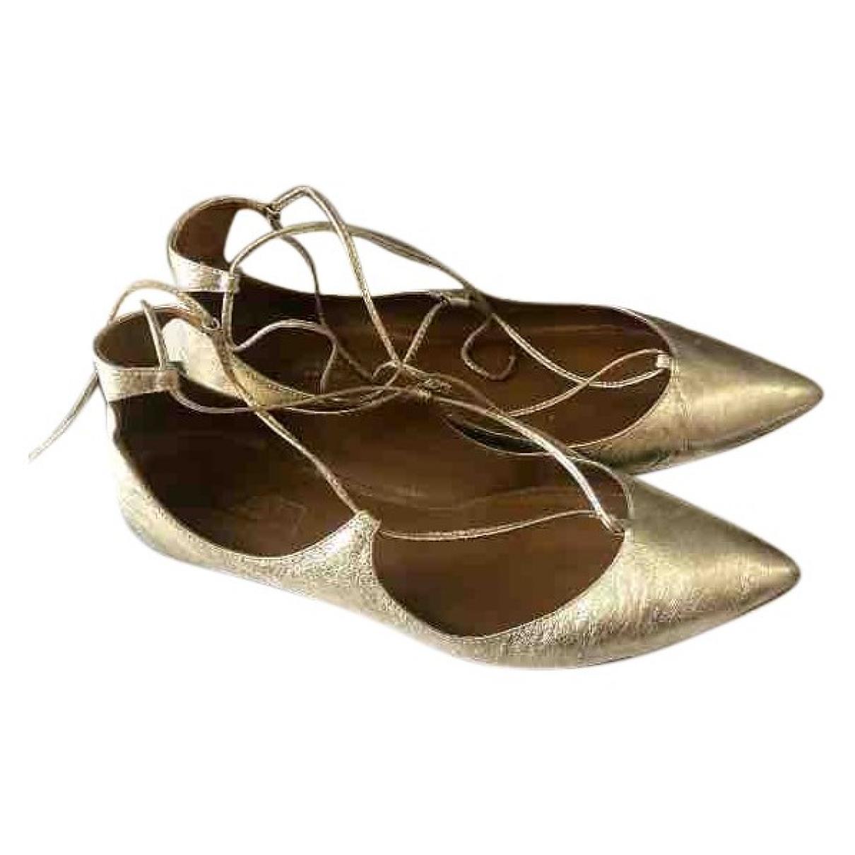 Aquazzura \N Gold Leather Ballet flats for Women 39 EU