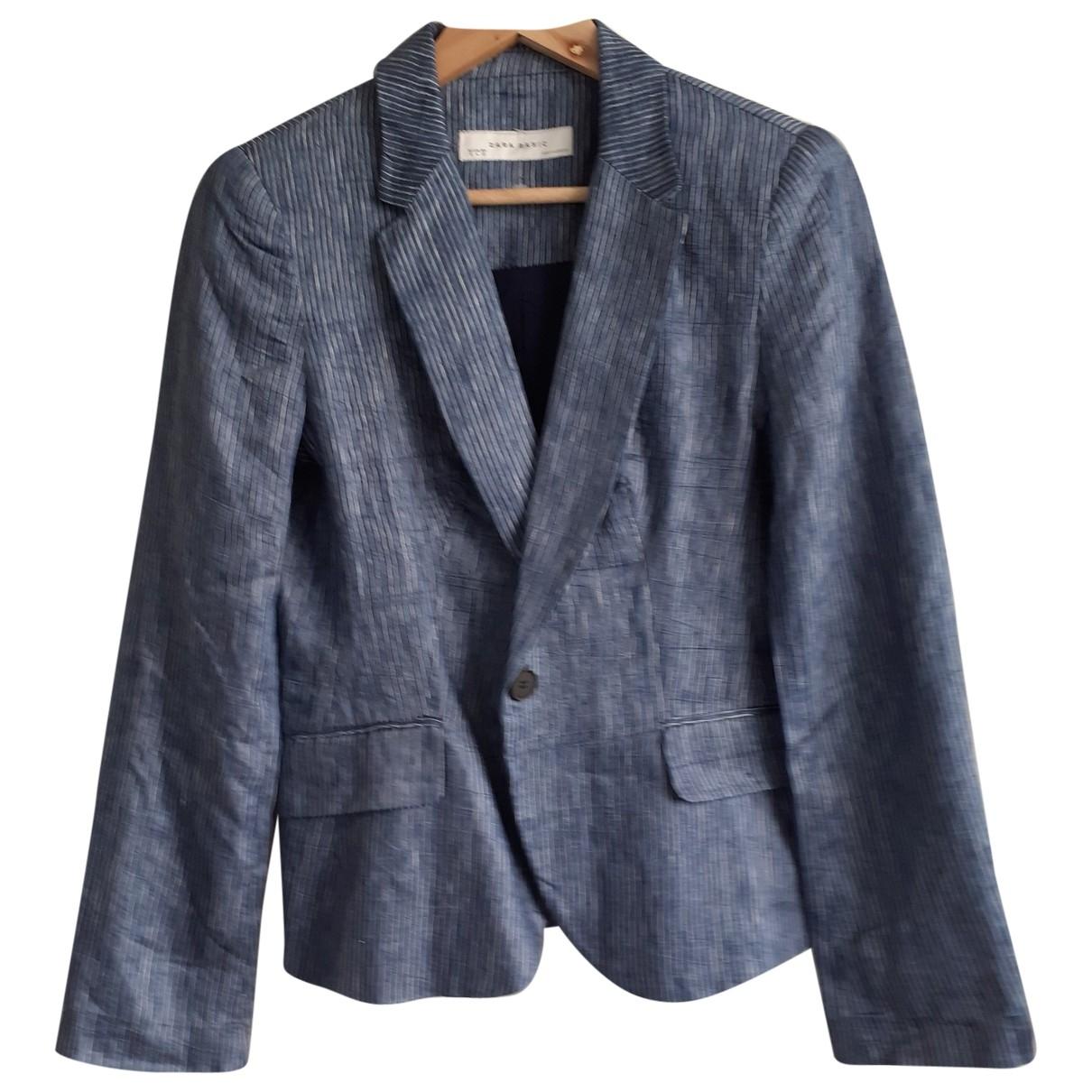 Zara - Veste   pour femme en lin - bleu