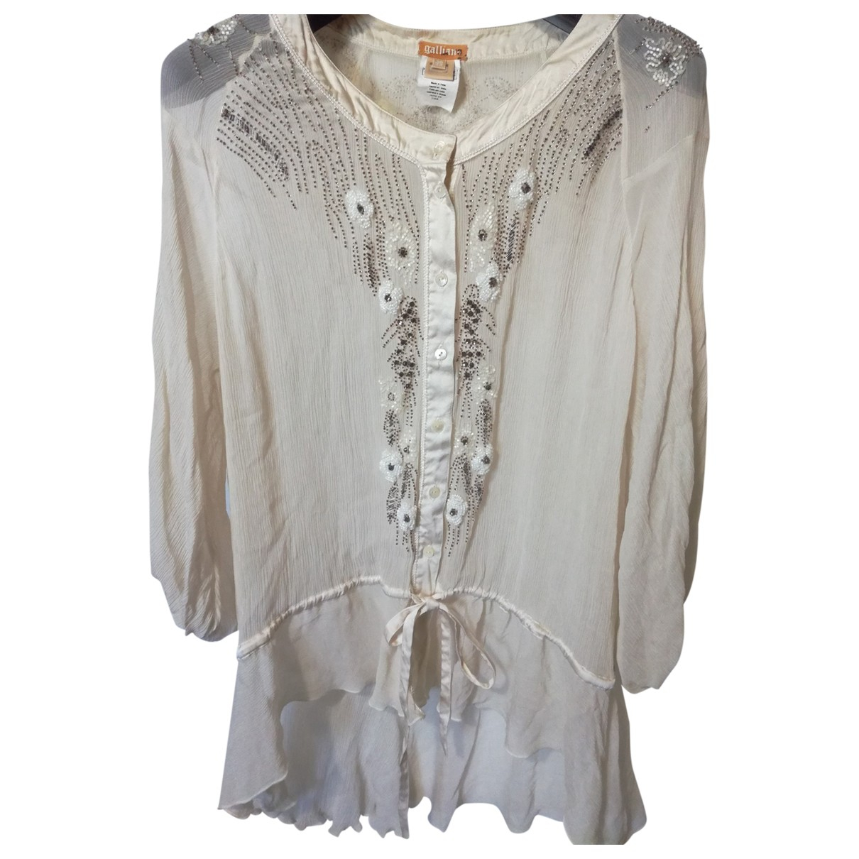 Galliano \N White Silk  top for Women 44 IT