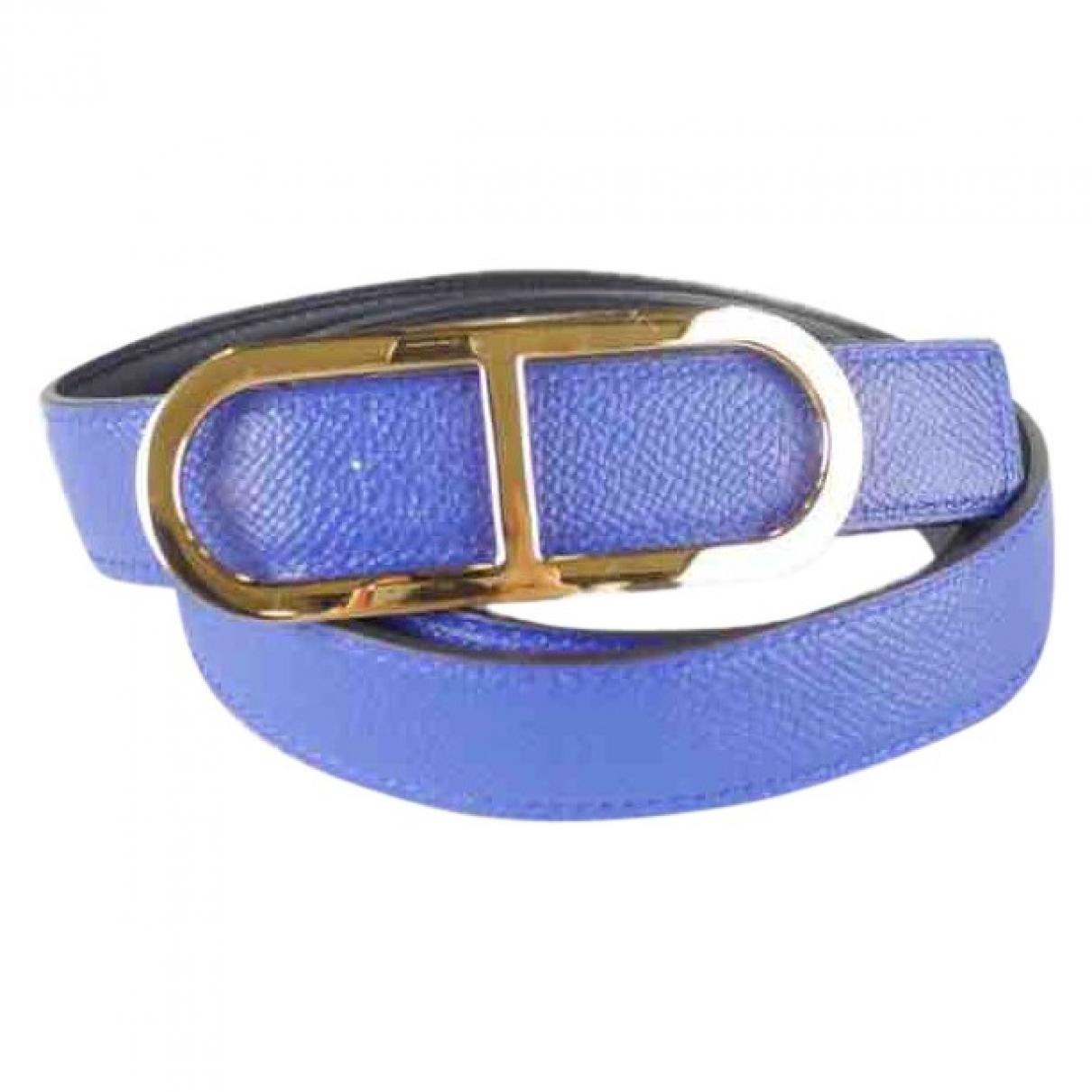 Hermès Chaine d'Ancre  Blue Leather belt for Women 95 cm