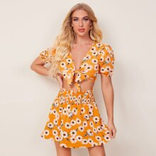 Floral Print Knotted Crop Top & Shirred Skirt Set