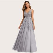 Kleid mit V Ausschnitt hinten, Applikation und Netstoff