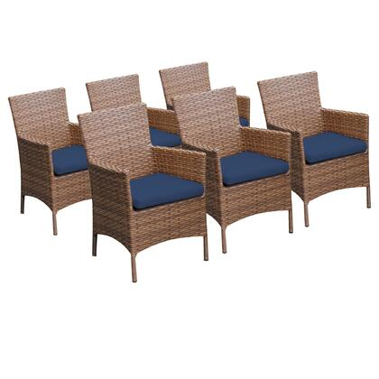TKC093b-DC-3x-NAVY 6 Laguna Dining Chairs With Arms with 2 Covers: Wheat and