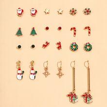12 Paar Ohrringe Set mit Tannenbaum Design