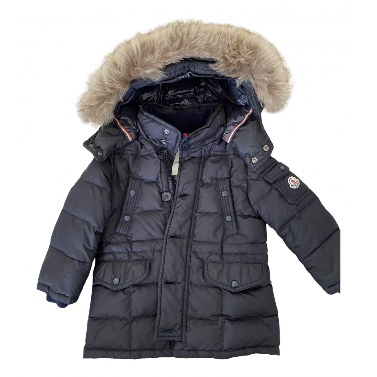 Moncler Fur Hood Navy jacket & coat for Kids 2 years - up to 86cm FR
