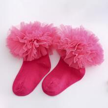 Kleinkind Maedchen Socken mit Netzstoff und Rueschen