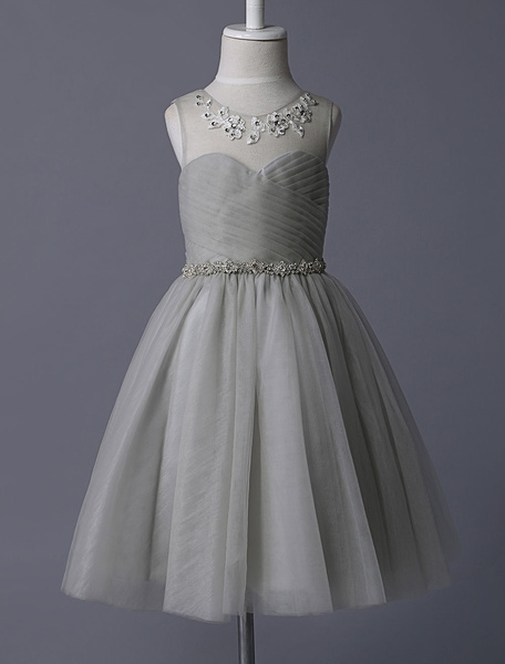 Milanoo Grey Flower Girl Dresses Illusion Neckline Sequined Embroidered Tulle With Rhinestone Beaded Tutu Kids Party Dresses
