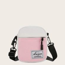 Mini Color Block Canvas Crossbody Bag