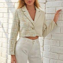 Single Button Contrast Tweed Bolero Blazer