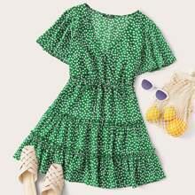 Kleid mit V Kragen, Taillenband und Bluemchen Muster