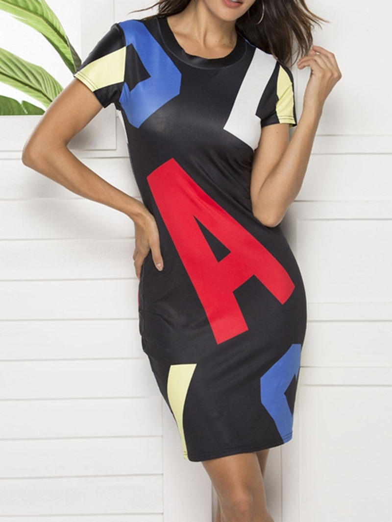 Ericdress Print Above Knee Round Neck Letter Bodycon Dress