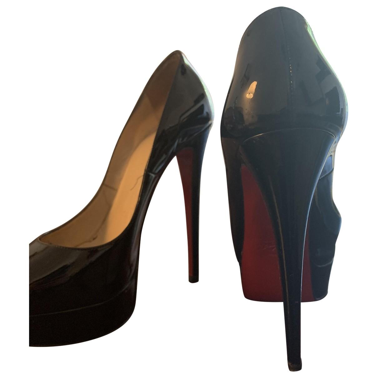 Christian Louboutin Lady Peep Black Patent leather Heels for Women 36.5 EU