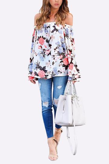 Yoins Floral Print Elastic Off-The-Shoulder Bell Sleeve Top