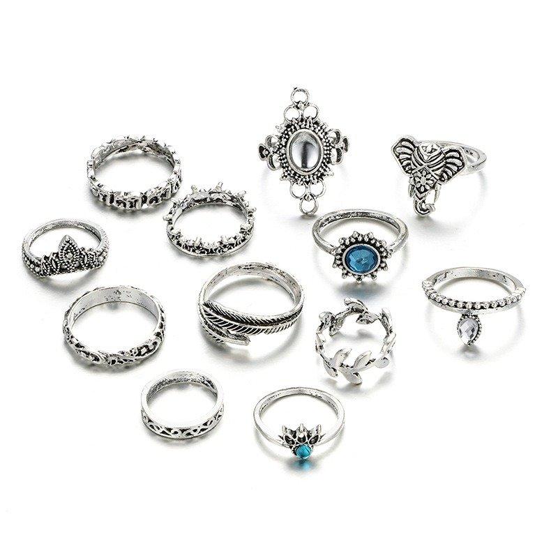 Vintage Drop Elephant Rings Set 12 Piece Bohemian Finger Rings Gemstone Crown Rings For Women