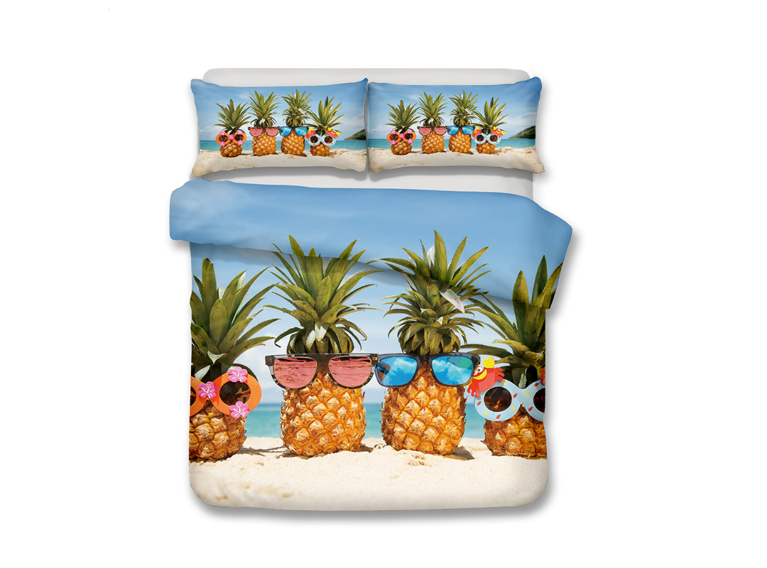 Pineapple Wearing Sunglasses Printed 3-Piece 3D Bedding Sets/Duvet Covers