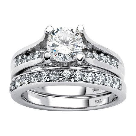 DiamonArt Womens 1 3/4 CT. T.W. White Cubic Zirconia Platinum Over Silver Bridal Set, 9 , No Color Family