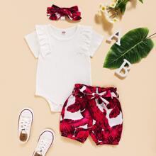 Baby Girl Ruffle Trim Rib-knit Bodysuit With Tropical Print Shorts