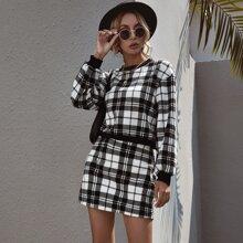 Plaid Drop Shoulder Sweatshirt & Straight Skirt