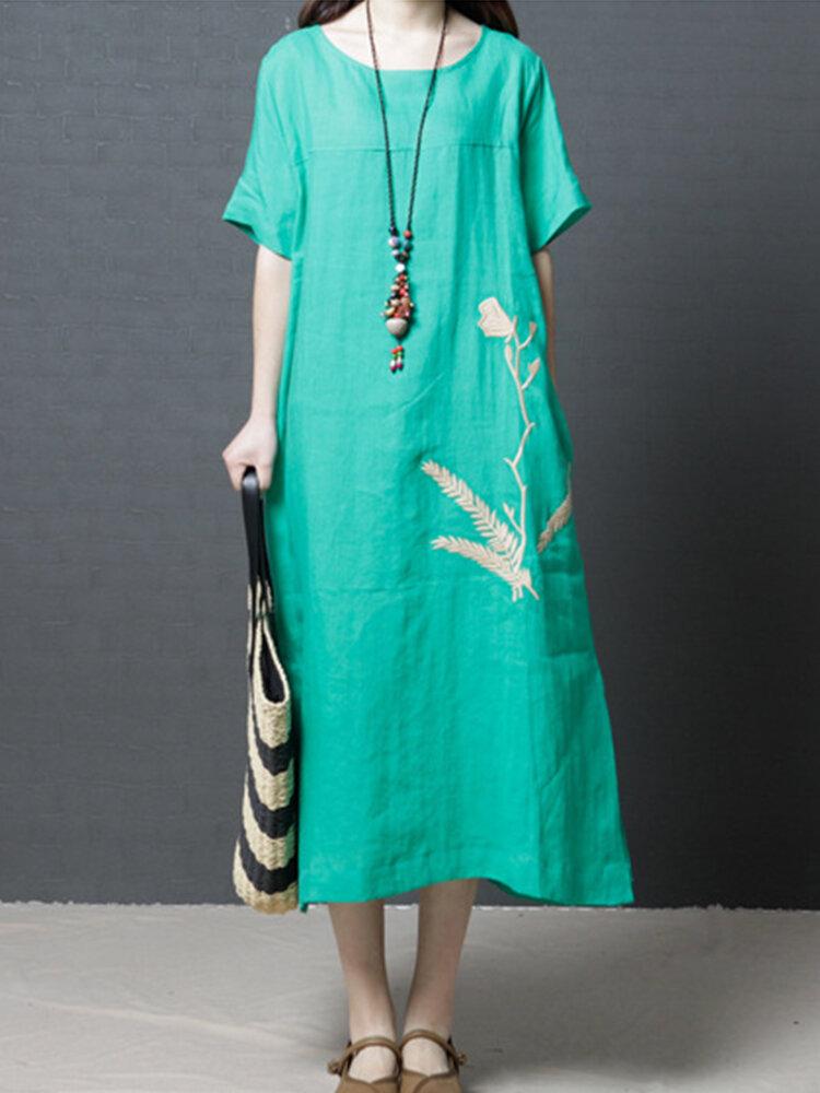 Casual Print Split Hem Loose Dress for Women