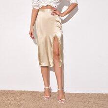 Split Thigh Lace Trim Satin Skirt