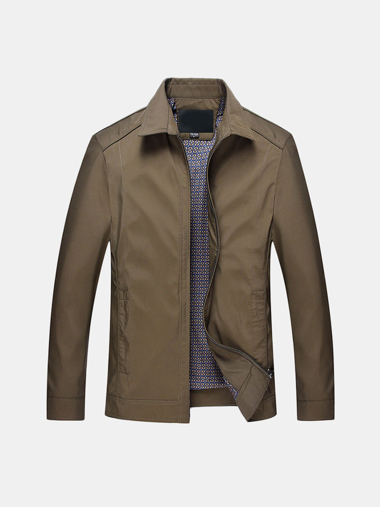 Men's Classic Casual Business Solid Color Brief Turn-Down Collar Zipper Up Jacket