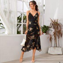 Ruffle Hem Ruched Floral Mesh Dress