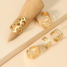 5 Stuecke Ring mit Ausschnitt und Schleife Dekor