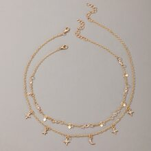 2pcs Star & Moon Chain Necklace