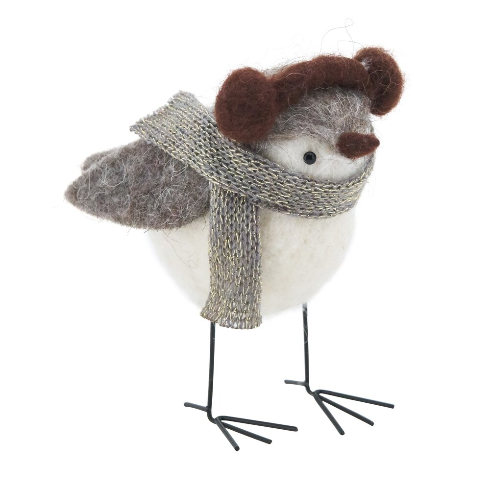 Handmade Bundled Up Bird Decor (Grey - Polyester)