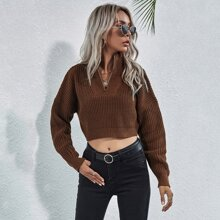 Zip Half Placket Crop Sweater