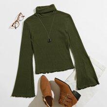 Turtle Neck Bell Sleeve Lettuce Trim Rib-knit Top
