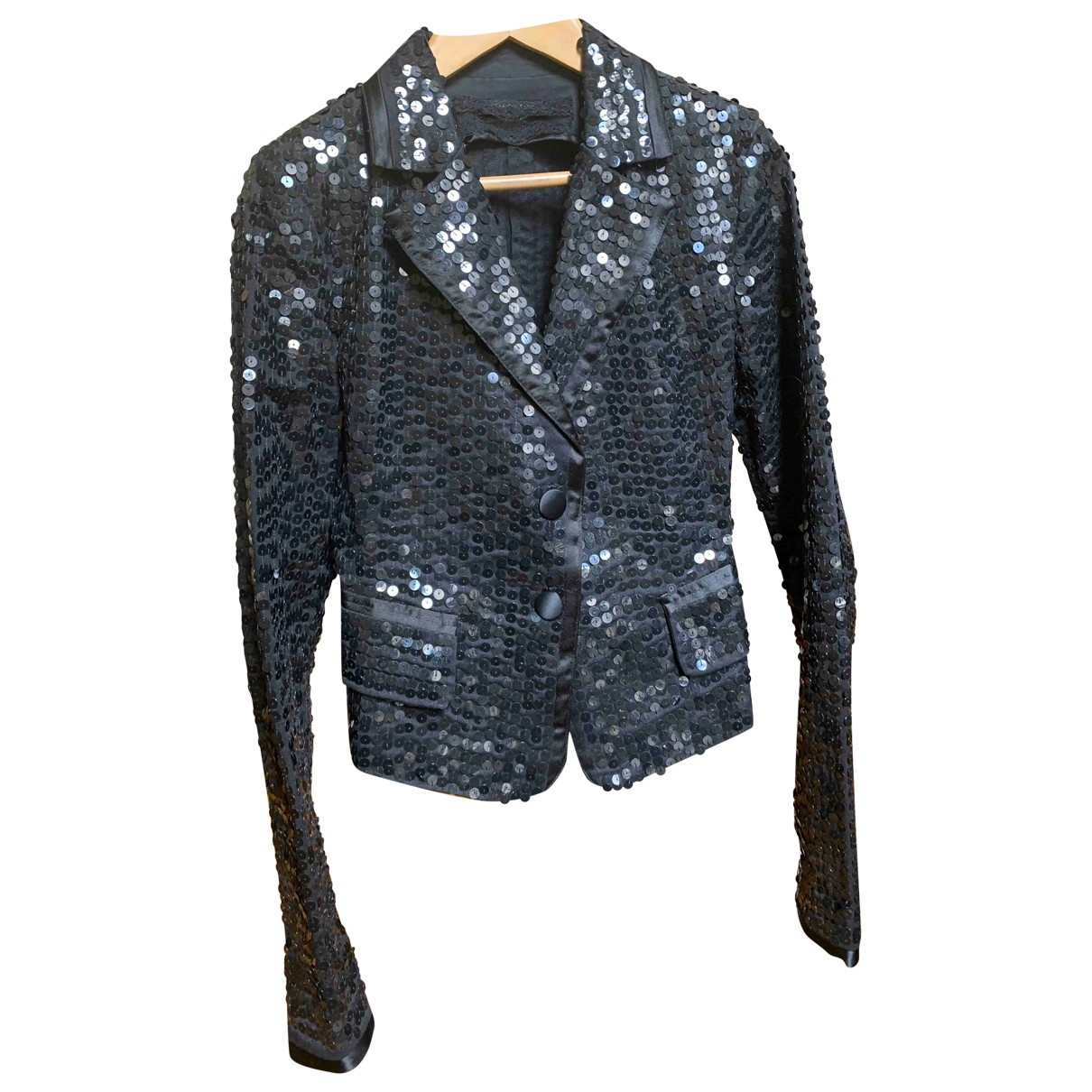 Patrizia Pepe \N Black Glitter jacket for Women 40 IT