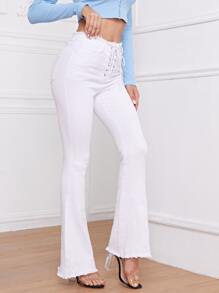 High Waist Lace Up Front Flare Leg Jeans