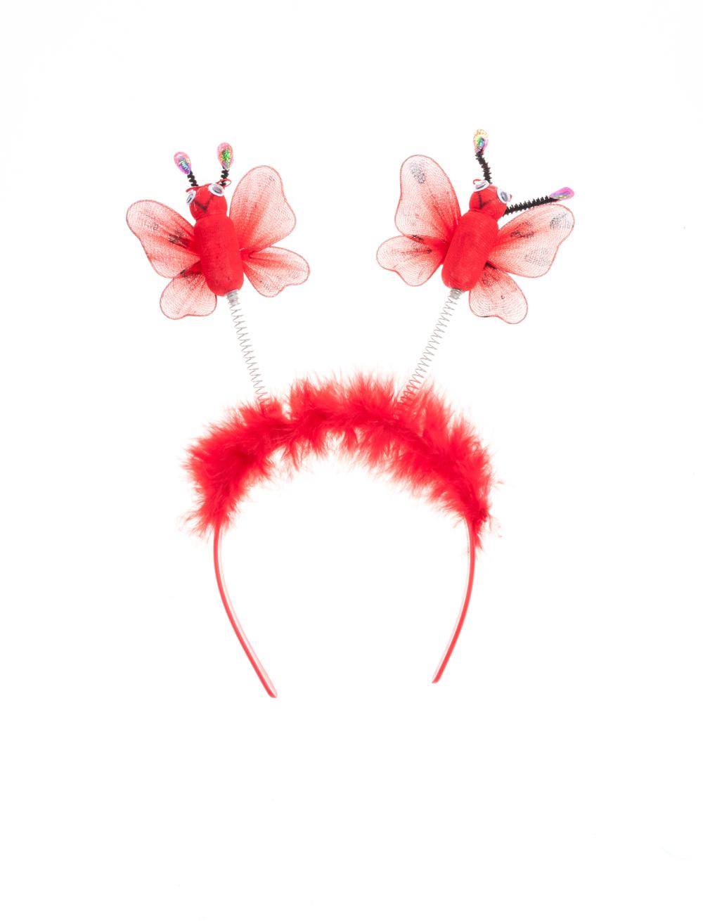 Kostuemzubehor Haarreif mit Marienkaefer & Marabu Farbe: rot