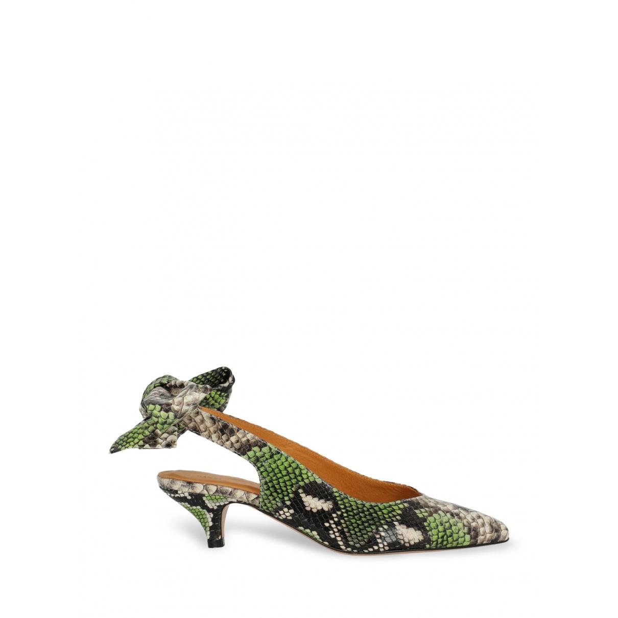 Ganni - Sandales   pour femme en cuir - vert