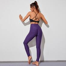Ruched Back Wide Waistband Sports Leggings