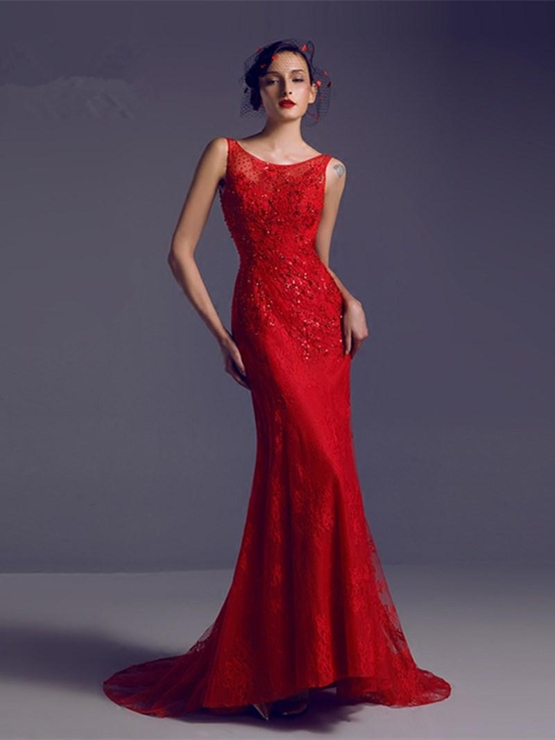 Ericdress Sleeveless Beaded Backless Sweep Train Lace Mermaid Evening Dress