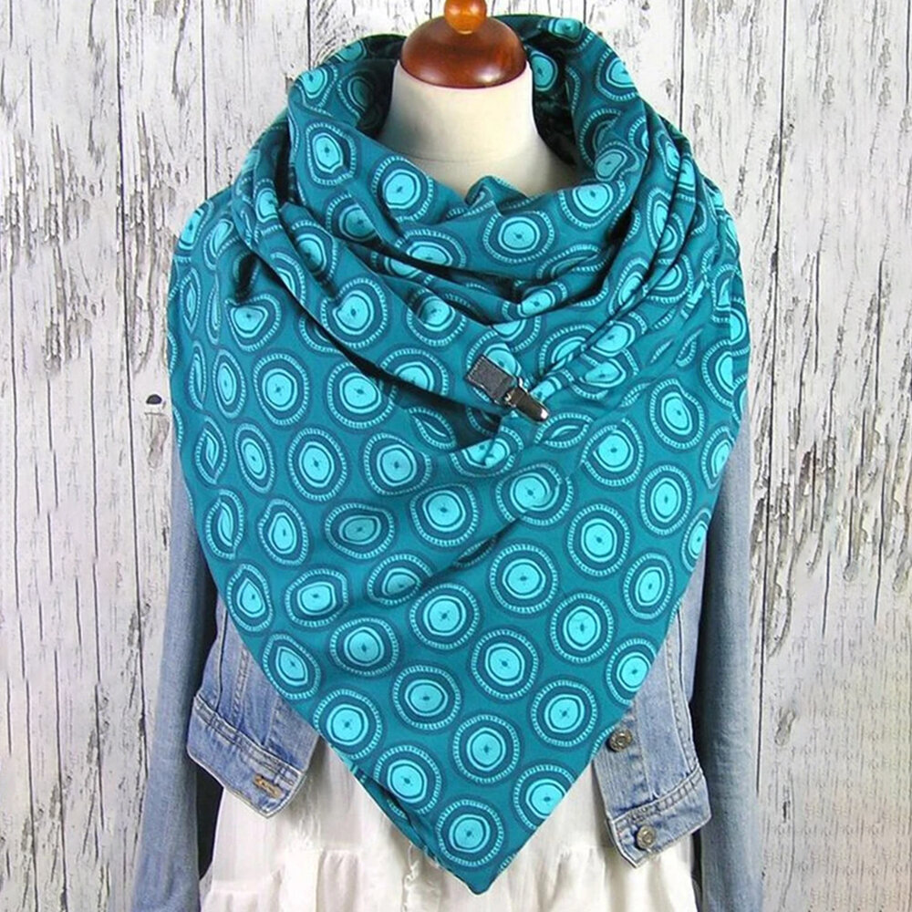 Women Solid Color Circle All-match Thick Warmth Shawl Printed Scarf