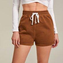 Solid Cuffed Hem Drawstring Shorts