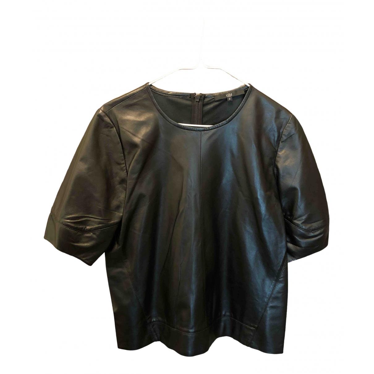 Tibi - Top   pour femme en cuir - noir