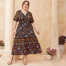 Grosse Grossen - A Linie Kleid mit Blumen und Stamm Muster