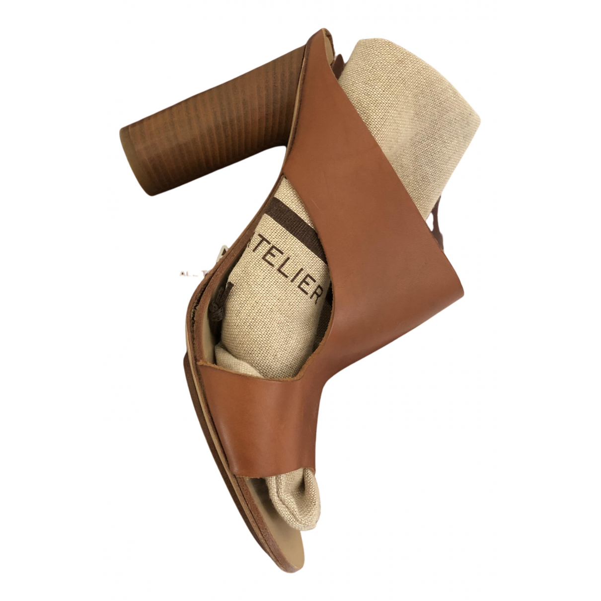Atp Atelier N Brown Leather Sandals for Women 38 EU