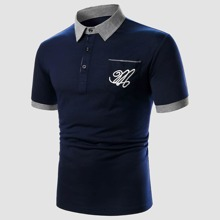 Men Letter Embroidery Contrast Cuff Polo Shirt