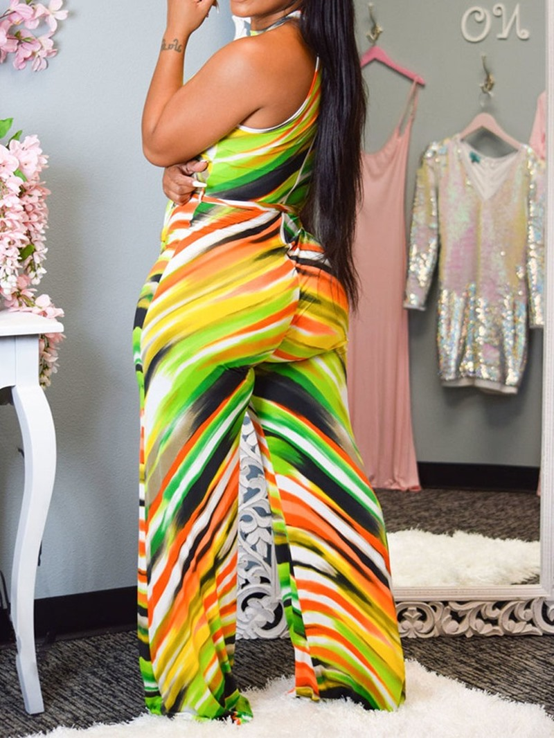 Ericdress Stripe Full Length High Waist Straight Jumpsuit