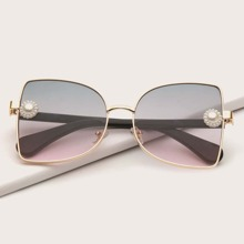 Faux Pearl Decor Metal Frame Sunglasses
