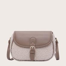 Two Tone Buckle Decor Crossbody Bag